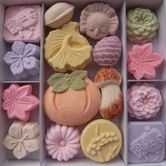 """Japanese tea sweets. Eaten just like this it is called """"dried sugar sweet"""" higashi"""
