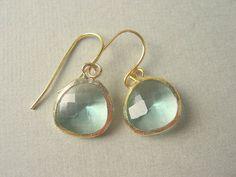 Pastel, Prasiolite Glass Gold Trimmed Earrings. $25.00, via Etsy. LOVE these earrings!