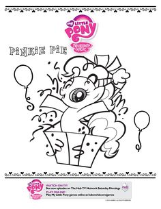 "1 of 3 coloring sheets from ""My Little Pony Friendship Is Magic - Pinkie Pie Party!"" DVD available now at Walmart."