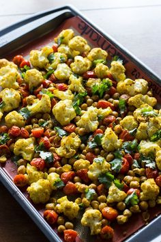 Roasted Cauliflower, Tomatoes, Chickpeas w/ Spices