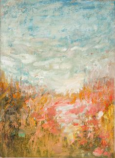 """Original impressionist, modern landscape, oil painting on canvas, Saved, 16""""x 22"""" pink paint, beach, by abstract artist Amy Donaldson"""