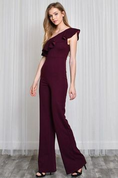 eb0a0e5df9e4 Look like a runway model with the One Shoulder Ruffle Jumpsuit in Burgundy  which is perfect. Lemora