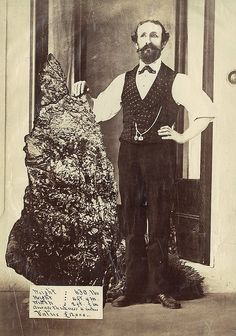"""Bernard Otto Holtermann and the world's largest """"nugget"""" of gold, North Sydney, ca. 1874-1876 / montage photograph by American and Australasian Photographic Company by State Library of New South Wales collection, via Flickr"""