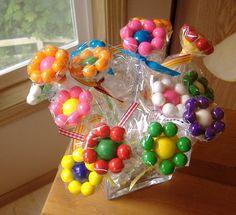 Gumball Flower Bouquet. Balloon stick, large gum ball, small gum balls, cellophane.