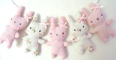Bitsy Bunny- Fabric Garland Vintage Pastel Pinks via Etsy