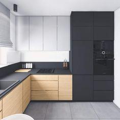 Kitchen Room Design, Home Decor Kitchen, Kitchen Interior, New Kitchen, Black Kitchens, Home Kitchens, Küchen Design, House Design, Plywood Kitchen