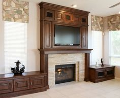 Startling Diy Ideas: Tall Fireplace Furniture Arrangement tv over fireplace console.Old Fireplace Farm House tv over fireplace console. Tv Over Fireplace, Fireplace Bookshelves, Faux Fireplace, Fireplace Inserts, Fireplace Surrounds, Fireplace Mantels, Fireplace Ideas, Cabin Fireplace, Fireplace Console