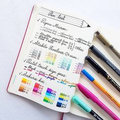"""28 Likes, 3 Comments - Nini Mantin (@didypanpie) on Instagram: """"My pen test page... or probably just the first part of it #bulletjournal #bulletjournaling…"""""""