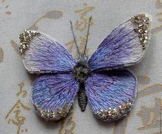 """Купить Вышивка """"Бабочка"""" - васильковый, вышивка, подарок, бабочка, Вышивка гладью, подарок на любой случай"""