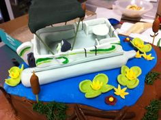 More of the Pontoon Boat Cake. Lake Cake, 8th Birthday Cake, Boat Cake, Pontoon Boat, Custom Cakes, Cupcake Ideas, Desserts, Food, Personalized Cakes