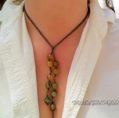 Tea Dance: Fire Agate & Antique Copper Lariat Necklace Choker