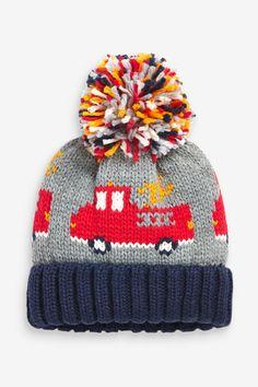 Next Uk, Fire Trucks, Beanie Hats, Boy Outfits, Knitted Hats, Knit Crochet, Winter Hats, Knitting, Grey