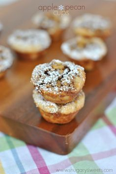 Apple Pecan Cups: bite sized pecan pie treats filled with apple bits. DELISH.  ☀CQ #desserts #recipes