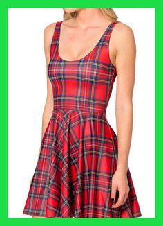 NEW 1042 Sexy Girl Women Summer plaid tarta red 3D digital Prints Reversible Sleeveless vest Skater Pleated Dress