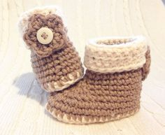 Hand crocheted Baby Uggs Style boots / by BobblesandBaubles