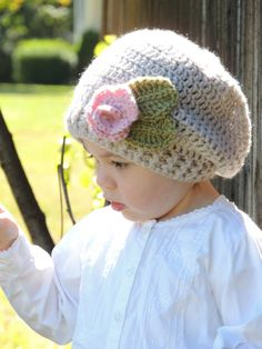 Handmade Slouchy Rose Toddler Crochet Hat / Photo by LayneCouture