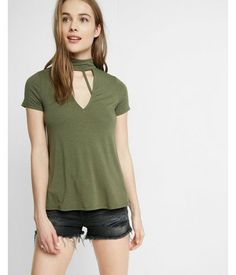 Strappy Trapeze Choker Tee Green Women's XX Small