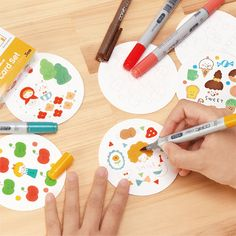 コピックコースターセット Pen Illustration, Illustrations, Diy Back To School, Cute Notes, Copic, Easy Drawings, Art Lessons, Painting & Drawing, Coasters