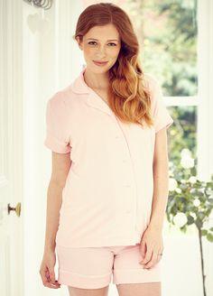 162a24b308e7b Queen Bee Daddy Maternity PJ Short Set in Petal Pink by Amoralia Maternity  Sleepwear
