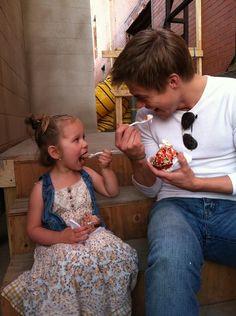 Derek Hough on set of Cobu 3D with co-star's daughter.
