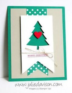 handmade Christmas card ... clean graphic look ... negative space die cut tree with a popped up heart ... Stampin' Up!