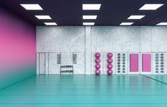 Ladies 'Fitness Center Interior Design - Riad, Saudi-Arabien - New Ideas Fitness Design, Gym Design, Logo Design, Riyadh, Intelligent Design, Gym Interior, Interior Design, Colour Pop Interior, Sticker Printable