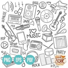 Music Doodle, Doodle Icon, Doodle Wall, Doodle Art Drawing, Rock Clipart, Emo Wallpaper, Music Drawings, Music Party, Simple Doodles