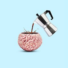 Coffee Poster, Coffee Art, Conceptual Art, Surreal Art, Brain Art, Graphic Art Prints, Coffee Shop Design, Creative Advertising, Food Graphic Design
