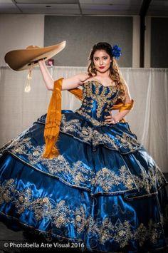 Daniela's 15 Dress Mariachi Quinceanera Dress, Mexican Quinceanera Dresses, Mexican Dresses, Quinceanera Ideas, Quince Dresses, 15 Dresses, Formal Dresses, Vestido Charro, Royal Blue Dresses
