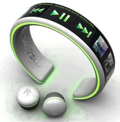 Wireless headphones and MP3 player bracelet...No more running with headphone cords!