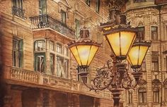 Lights of the Souls Aquarelle 68 x Fabriano Artistico Original price: 1500 Euro, exclusive high end imprint on aquarelle paper - 100 Euro Euro, Louvre, Lights, The Originals, City, Paper, Building, Travel, Home