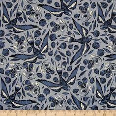 Cotton + Steel S.S. Bluebird Sailor Ink Birds Blue