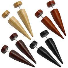 2 Faux Ecarteur Dilatateur Bois Faux Plugs Conique Fake Tunnel Boucle Clous D'oreille Piercing Marron Beige Noir Marron, Couleur:10mm - 4 Farben Set / 4 color set