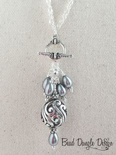 Swarovski Pearl and Crystal Pewter Beaded Dangle Necklace
