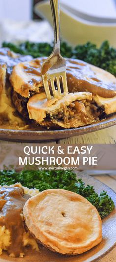 Tender, juicy, meaty portobello mushroom, stuffed with sweet caramelized onions, a sprinkling of thyme, all topped with buttery, crisp pastry. This is seriously the easiest Vegan Mushroom Pie you will find & it's so good!!! Perfect for making in advance too! #vegan #portobello #mushroom #pie #veganpie via @avirtualvegan