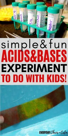 Looking for a fun science experiment to do with kids with ingredients you have at home? Try this acids and bases experiment to test household solutions and decided if they are acidic or basic. This is a great chemistry experiment for kids of any age! Chemistry Experiments For Kids, Chemistry Lessons, Science Biology, Preschool Science, Elementary Science, Physical Science, Science Education, Science For Kids, Science Activities