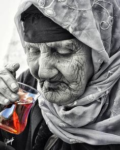 Elderly woman drinking turkish tea by M. Photographer: M. White Photography, Portrait Photography, Foto Portrait, Old Portraits, Old Faces, Face Expressions, People Of The World, Interesting Faces, Belle Photo