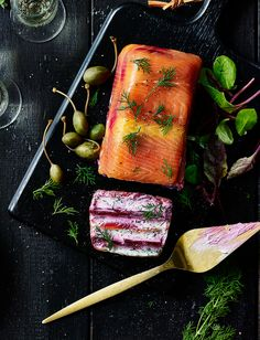 Recipe: Salmon and beetroot terrine This looks super-impressive but is actually really easy to make. A modern take on a classic restaurant starter, with layers of vibrant beetroot and a kick of horseradish Trout Recipes, Spicy Recipes, Clean Recipes, New Recipes, Cooking Recipes, Healthy Recipes, Cake Sandwich, Beetroot Recipes, Salmon Terrine Recipes