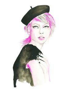 Parisian Girl portrait  Art Print  Fashion Illustration by KomaArt