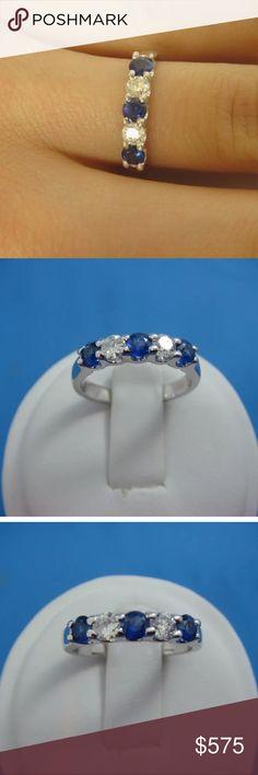 0.75 carat 14k diamond & blue sapphire ring 0.75 carat 14k diamond & blue sapphire ring! Comes with appraisal! High quality! Retail over $1800!!! Jewelry Rings