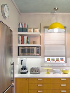 Saving Space: 15 Ways Of Mounting Microwave In Upper Cabinets, with open shelving