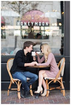 romantic coffee shop downtown houston engagement session- Brett Denfeld Photography