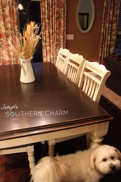 Learn how to paint, glaze and stain perfectly straight strokes and check out how I used General Finishes Java Gel Stain to refinish my kitchen table. Dining Table Makeover, Dining Room Table, A Table, Large Table, Kitchen Tables, Kitchen Ideas, Java Gel Stains, Stained Table, Dark Wood Stain