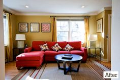 Love the wall color with the red sofa.