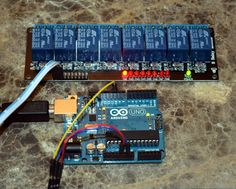 An Arduino Uno driving 1 relay on an 8 relay board.