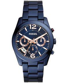 Fossil Women's Perfect Boyfriend Blue Stainless Steel Bracelet Watch 39mm ES4093 | macys.com