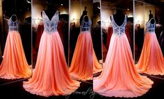 Coral Chiffon A-Line Prom Dress-Beaded Illusion Bodice- V-Neck - 115JC054240458