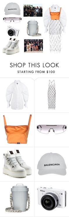 """""""I can only see from the front row"""" by nicolebokser on Polyvore featuring Jacquemus, Fannie Schiavoni, Simona Corsellini, Chanel, Puma, Balenciaga, Moschino, Nikon and vintage"""