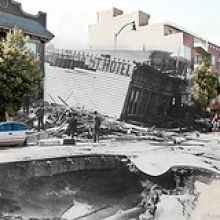 san fran earthquake 1906 merged with modern photos of the locations