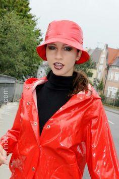 Red Raincoat, Vinyl Raincoat, Mackintosh Raincoat, Rain Bonnet, Rainy Day Fashion, Rubber Raincoats, Rain Suit, Plastic Pants, Rain Gear